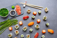 Sushi Maki and Niguiri soy sauce and wasabi Stock Images