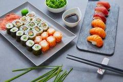 Sushi Maki and Niguiri soy sauce and wasabi Royalty Free Stock Images