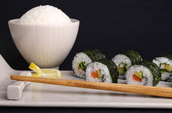 Sushi maki roll and rice Stock Photography