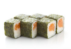 Sushi maki roll with salmon isolated Royalty Free Stock Photography