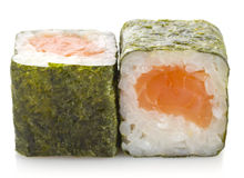 Sushi maki roll with salmon isolated Stock Photo