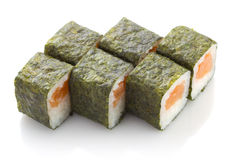 Sushi maki roll with salmon isolated Royalty Free Stock Image