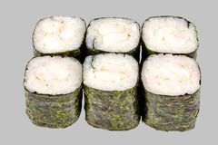 Sushi maki roll with shrimp on a gray background. Japanese food diet food rice fish delicious restaurant traditional fresh asia asian delicacy healthy raw menu stock photos