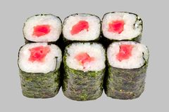 Sushi maki roll with tuna on a gray background. Japanese cuisine rice fish delicious restaurant traditional food fresh asia asian delicacy healthy raw menu set royalty free stock photo