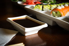 Sushi maki&rolls table setting Royalty Free Stock Image