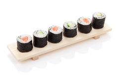 Sushi maki with salmon and cucumber Stock Photos