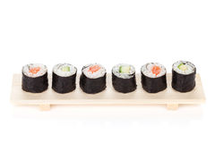 Sushi maki with salmon and cucumber Royalty Free Stock Image