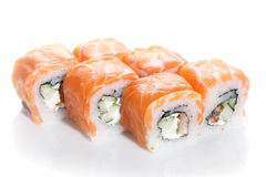 Sushi maki with salmon topping Royalty Free Stock Images