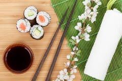 Sushi maki set with fresh sakura branch Stock Photography