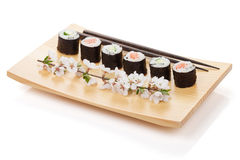 Sushi maki set with salmon and cucumber and sakura branch Stock Images