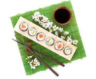 Sushi maki set with salmon and cucumber and sakura branch Royalty Free Stock Images