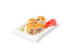 Sushi Maki Set su bianco fotografia stock