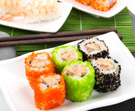 Sushi maki and shrimp sushi Royalty Free Stock Image