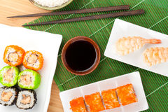 Sushi maki and shrimp sushi Royalty Free Stock Photography