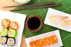 Sushi maki and shrimp sushi Royalty Free Stock Photography