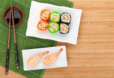Sushi maki and shrimp sushi Stock Photography