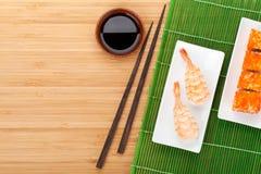 Sushi maki and shrimp sushi Royalty Free Stock Photos
