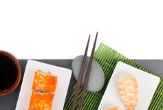 Sushi maki and shrimp sushi on black stone Royalty Free Stock Photography
