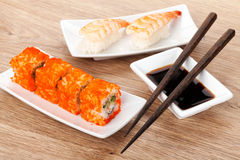 Sushi maki and shrimp sushi Stock Photo