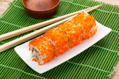 Sushi maki with tobiko Royalty Free Stock Image