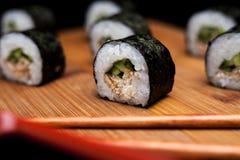 Sushi maki unagi hosomaki with eel. Royalty Free Stock Photography