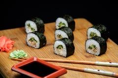 Sushi maki unagi hosomaki with eel. Stock Photography