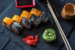 Sushi, ginger and wasabi stock photography