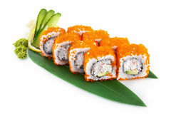 Sushi Masago d'isolement sur le fond blanc Images libres de droits