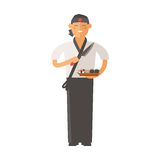 Sushi master young chef decorating delicious character vector. Royalty Free Stock Photos