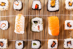 Sushi mat arramgement Royalty Free Stock Images