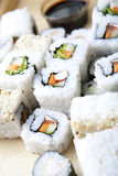 Sushi meal. Delicious sushi set close-up shot stock photography