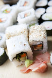 Sushi meal. Delicious sushi set close-up shot royalty free stock photo