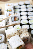 Sushi meal. Delicious sushi set close-up shot royalty free stock photography