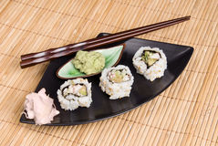 Sushi meal on bamboo placemat Royalty Free Stock Image