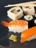 Sushi meal on a blue plate Stock Photos
