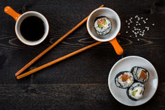 Sushi meal. On dark table stock images