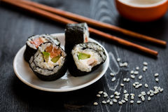 Sushi meal. On dark table royalty free stock photography