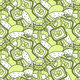 Sushi meal green set vector seamless pattern. Japan food rows background royalty free illustration