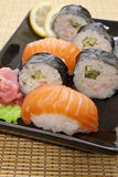 Sushi meal. Sushi selection on a black plate Stock Photo