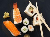 Sushi meal top view Royalty Free Stock Images