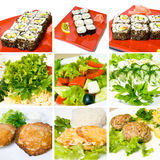 Sushi, meat, salad and other food Stock Image