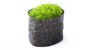 Sushi med den gröna kaviaren Arkivbild