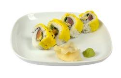 Sushi med förvanskade ägg Royaltyfri Bild