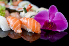 Sushi med orchiden Royaltyfri Foto