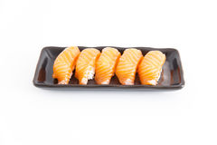 Sushi med vit bakgrund Arkivbild