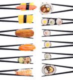 Sushi on the Menu. Set of 12 different pieces of sushi forming 2 rows isolated on white Royalty Free Stock Photography