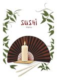 Sushi menu with asian fan and candle Stock Image