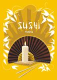 Sushi menu with asian fan and candle Royalty Free Stock Photo