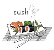 Sushi menu with asian fan and candle Stock Images