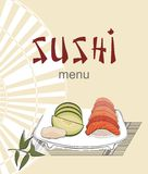 Sushi menu with asian fan and candle Royalty Free Stock Photos